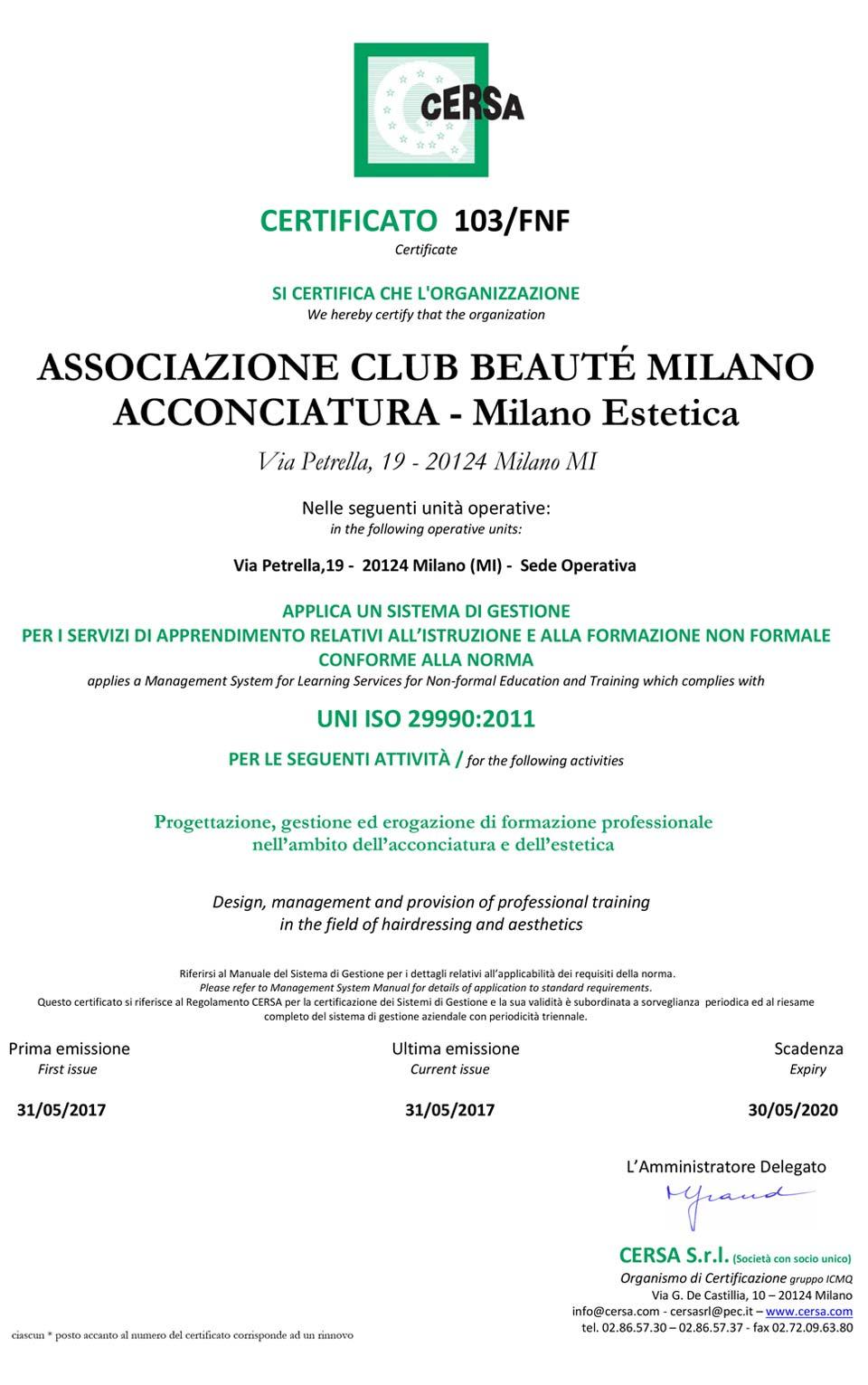 Certificato UNI ISO 29990:2011 di Club Beauté