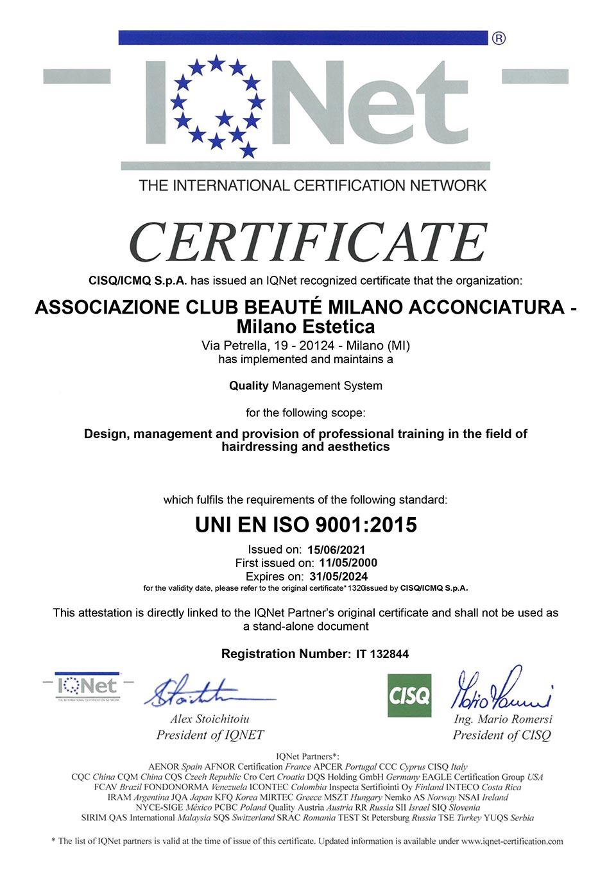 Certificato IQNet ISO 9001:2015 di Club Beauté