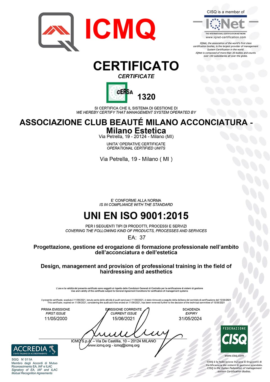 Certificato di Qualità UNI EN ISO 9001:2015 di Club Beauté