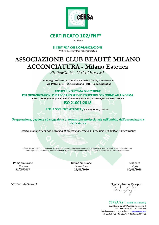 Certificato ISO 21001:2018 di Club Beauté