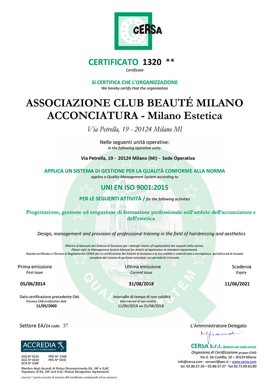 Certificato di Qualità UNI EN ISO 9001 di Club Beauté