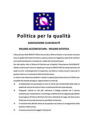 Politica per la qualità di Club Beauté